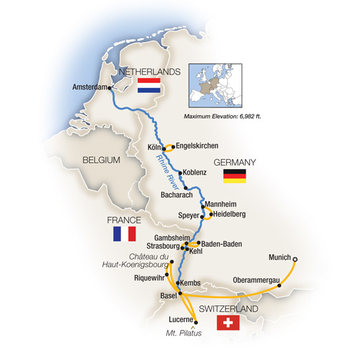 The Romantic Rhine Basel to Amsterdam featuring Oberammergau Northbound