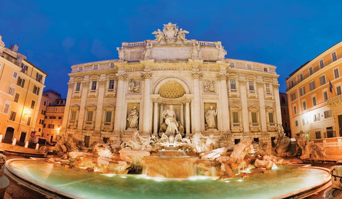 Trevi Fountain in Rome, Italy, at night