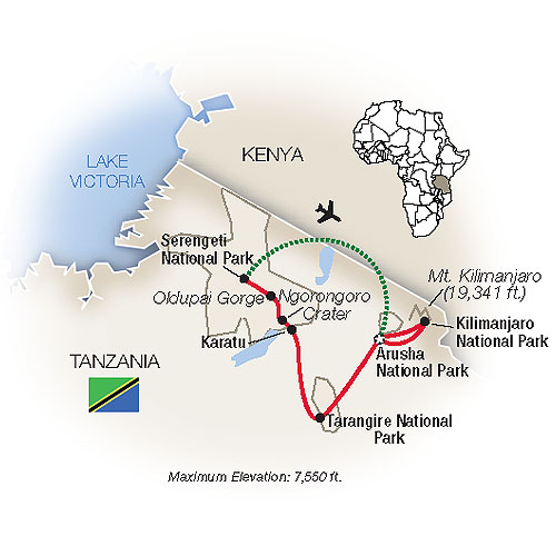 Tanzania Grand Family Safari Map