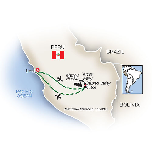 Mystical Peru Family Vacation Package Map