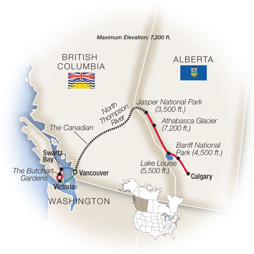 Canadian Rockies Escorted Tours Map