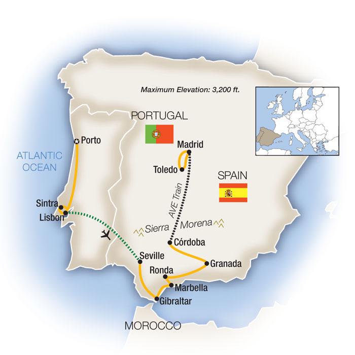 Spain Portual Escorted Tour Map