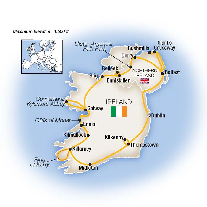 Best of Ireland Escorted Tour Map
