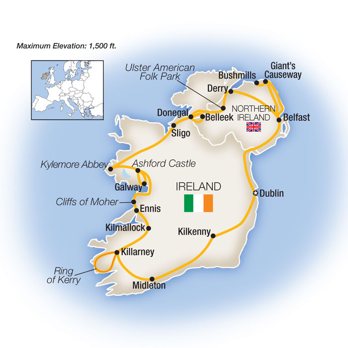 Best of Ireland Small Group Tour Map