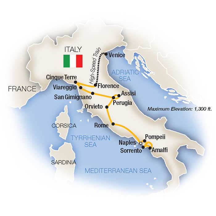 Classic Italy Escorted Tour Map
