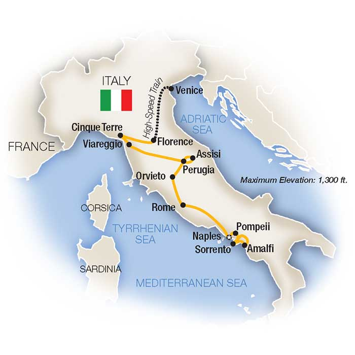 Classic Italy Small Group Tour Map