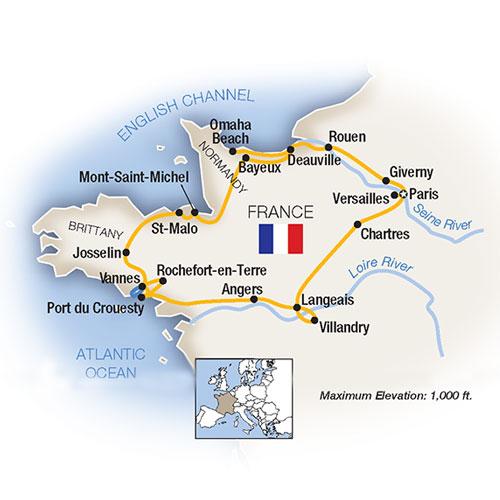 Brittany Paris Loire Valley Normandy Escorted Tour Map