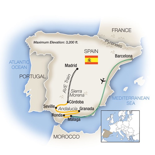 Week In Spain Escorted Tour Map