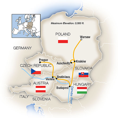 Warsaw Budapest Vienna Prague Poland Escorted Tour Map