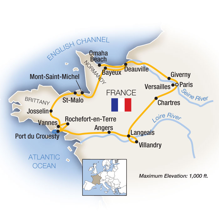 Brittany Paris Loire Valley Normandy Escorted Tour Map
