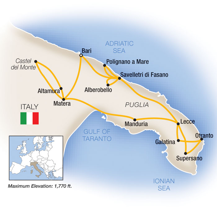 Week In Puglia Italy Guided Tour Map