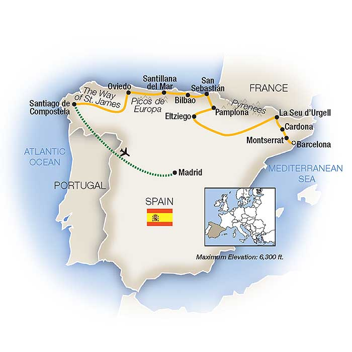 Map Of Northern Spain And Portugal.Northern Spain Tours Vacations Packages Tauck