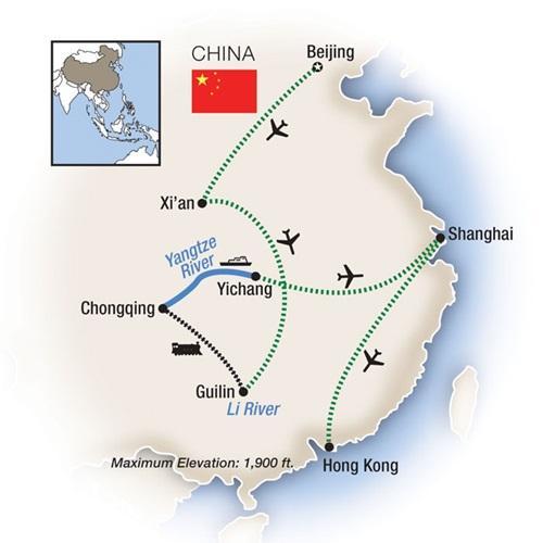 China Yangtze River Hong Kong Escorted Tour Map