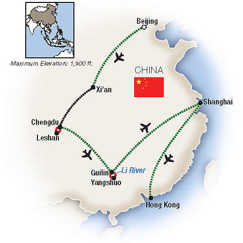 Odyssey in China Guide Tours Map