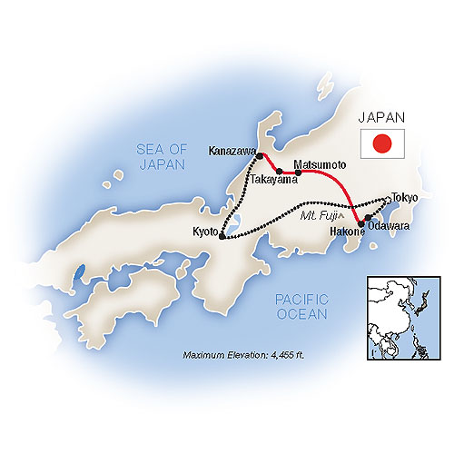 Essence of Japan Guided Tour Map