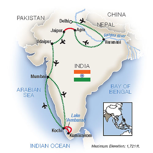 Portrait of India Escorted Tour Map