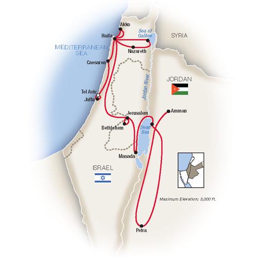 Israel Jordan Escorted Tour Map