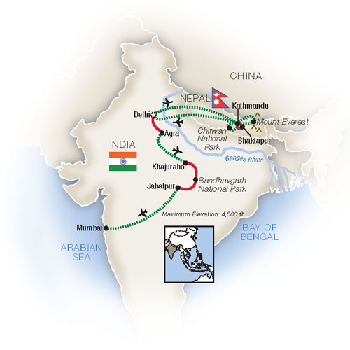 Norther India and Nepal Escorted Tour Map