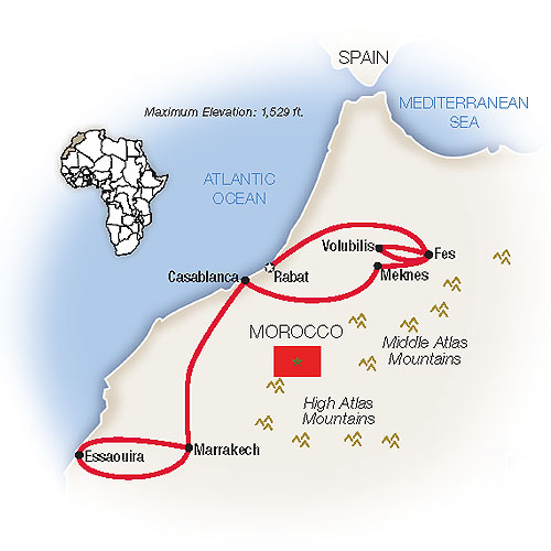 Magic of Morocco Escorted Tour Map