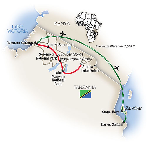 Serengeti Zanzibar Tanzania Safari Map