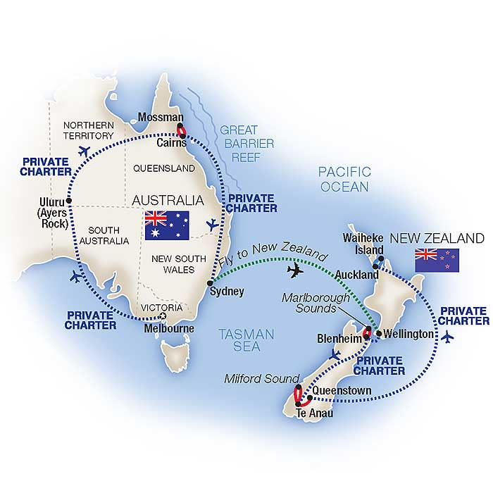 Australia To New Zealand Map.Australia New Zealand Tours Vacation Packages Tauck