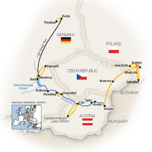 Royal Danube Berlin Krakow Poland River Cruise Map