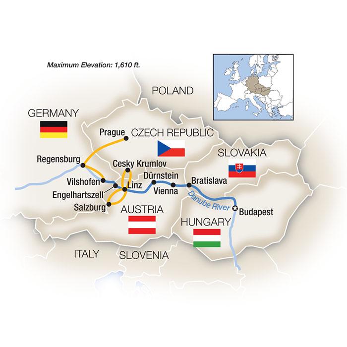 Danube river cruising map