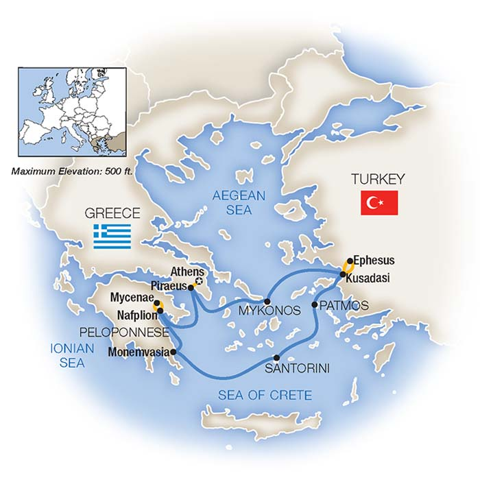 Treasures of Aegean Greek Isles Cruise and Tour