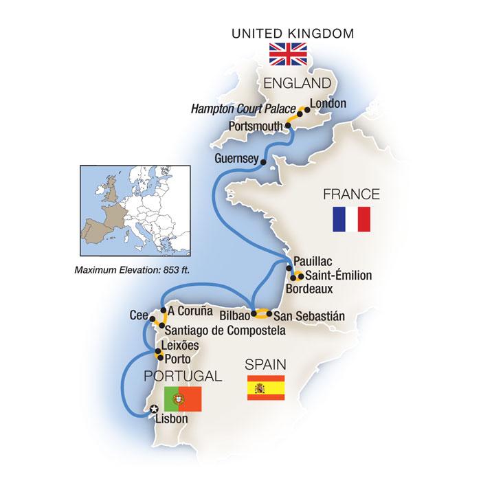 Lisbon to London Map