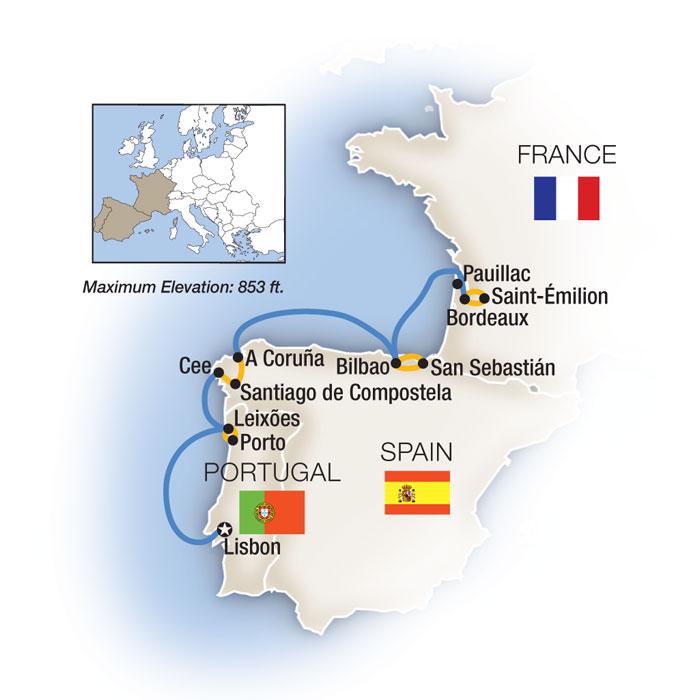Lisbon to Bordeaux Map