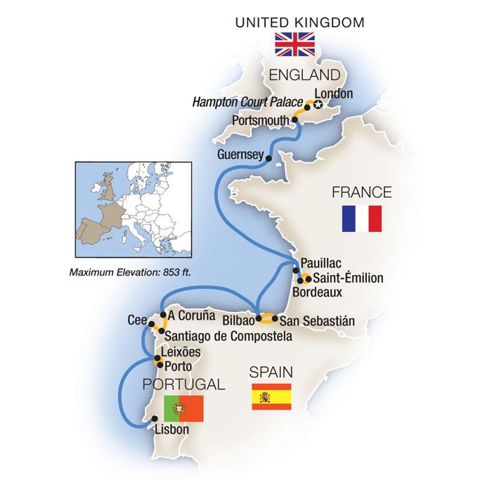 London to Lisbon Map