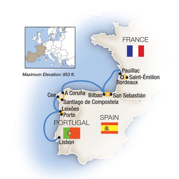 Bordeaux to Lisbon Map