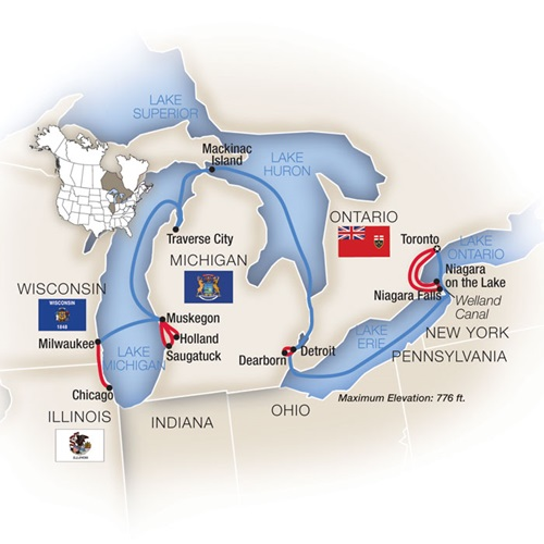 Chicago Toronto Great Lakes Cruise Map