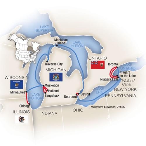 Chicago Toronto Great Lakes Cruise Map