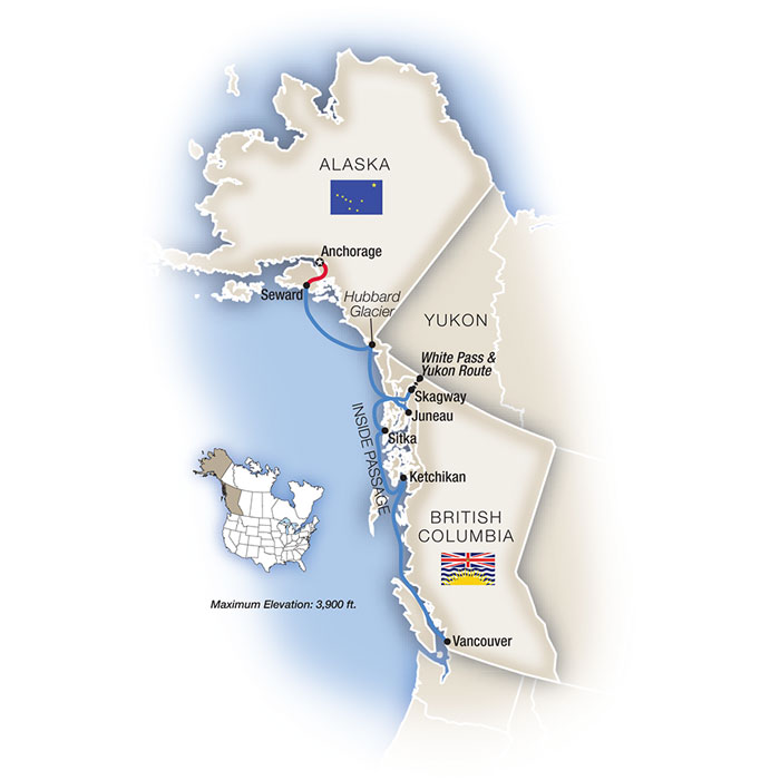 Inside Passage Alaska Cruise Map