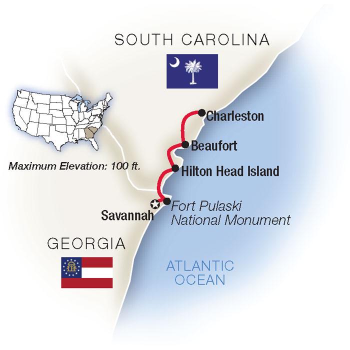 Charleston Savannah Escorted Tours Map