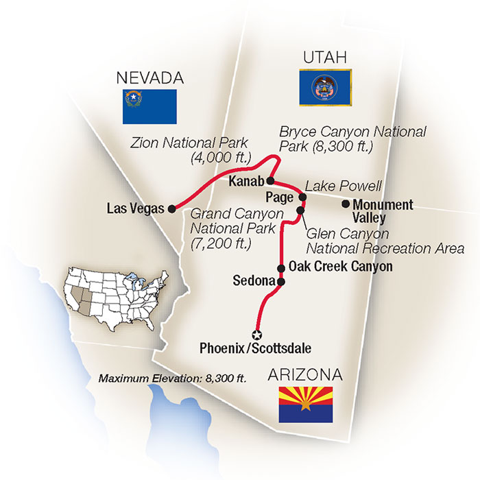 American Canyonlands Grand Canyon Escorted Tour Map