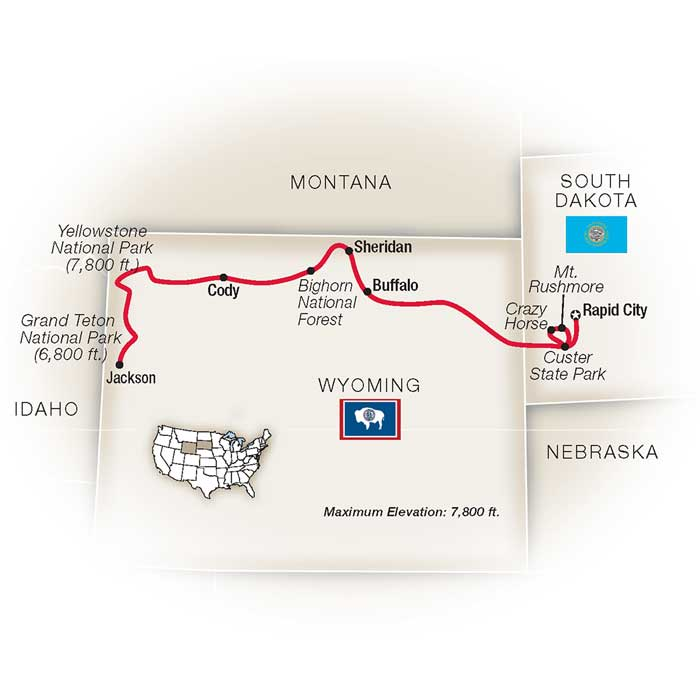 Legends American West National Park Escorted Tour Map