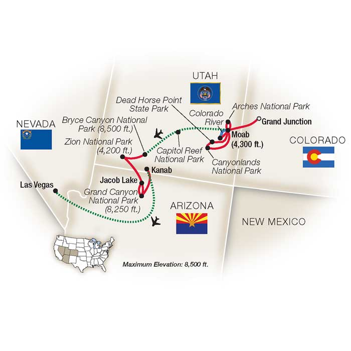National Parks Southwest Escorted Tour Map
