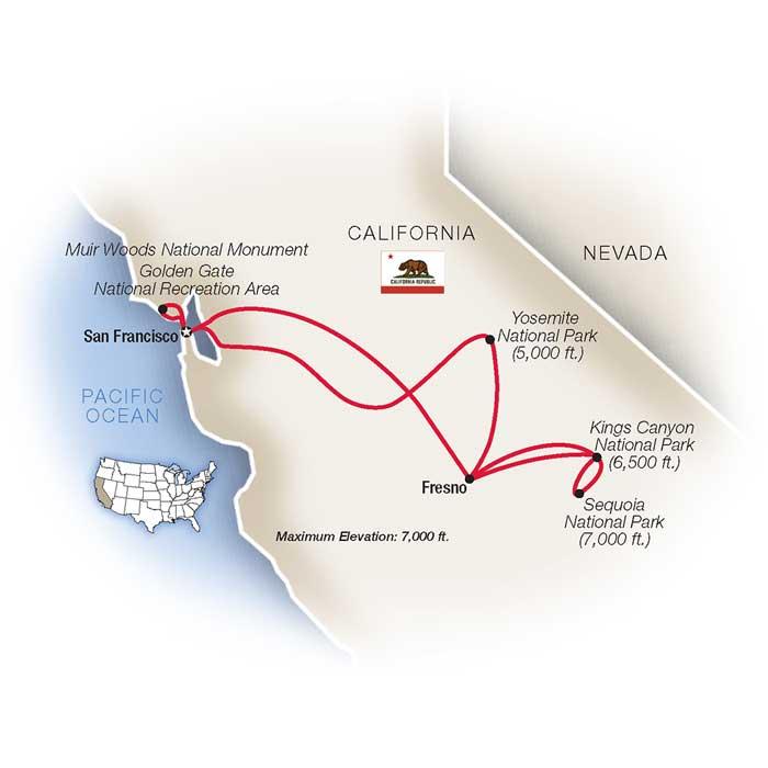 Yosemite and Sequoia Escorted Tour Map
