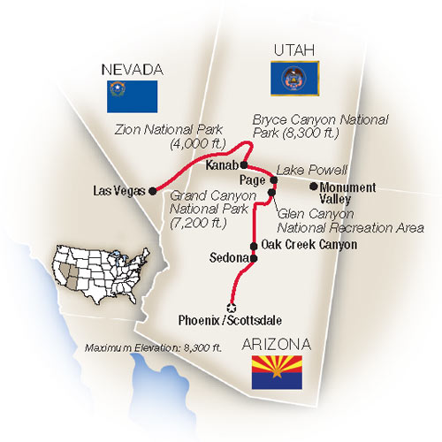 Map Of Arizona Including Grand Canyon.Grand Canyon Tours Escorted Tours Tauck