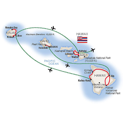 Best of Hawaii Escorted Tour Map