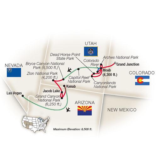 National Parks Southwest Escorted Tour Map