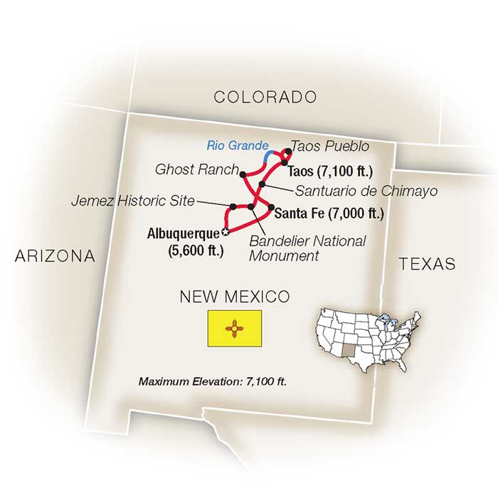Land of Enchantment New Mexico Escorted Tour Map