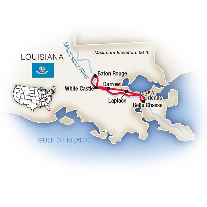 Mississippi New Orleans Plantation Escorted Tour Map