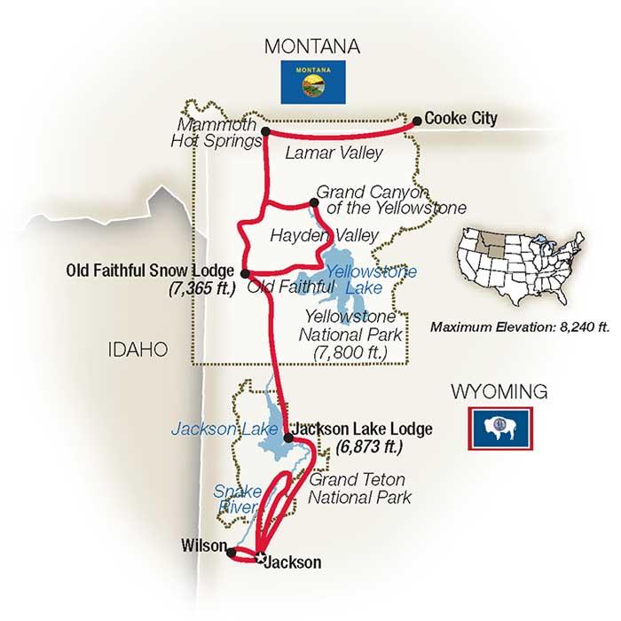 American Safari Tetons Yellowstone Escorted Tour map